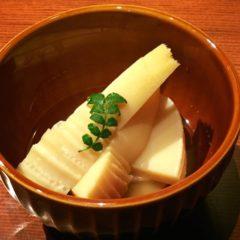 旬メニュー「新タケノコ煮」「アサリの酒蒸し」